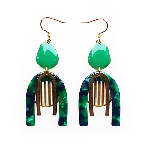 middle child earrings 'harpist' green