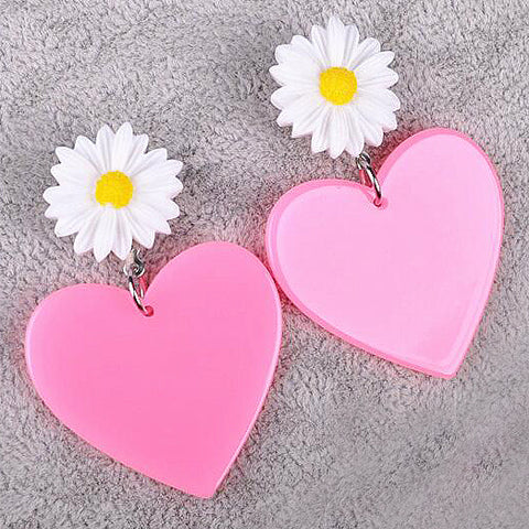 sugar earrings 'heart & daisy drops' light pink