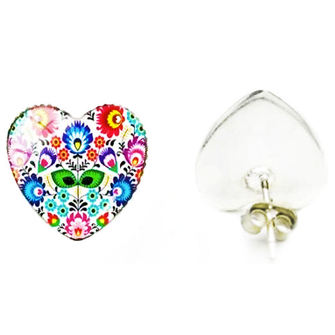 sugar earrings glass dome heart 'folk art floral' studs