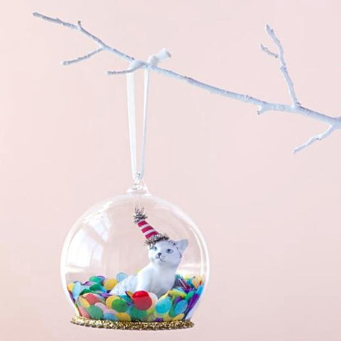 christmas ornament 'heirloom confetti kitty dome'