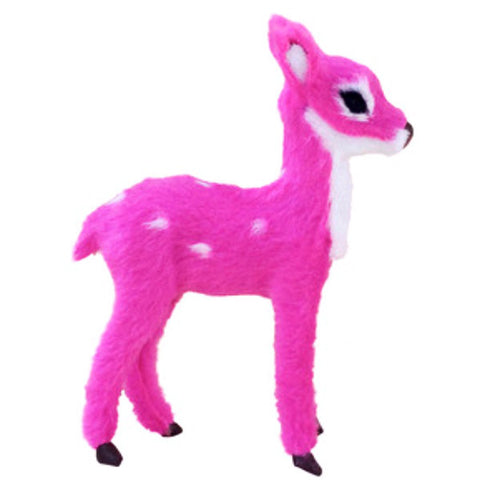 FURRY DEER FIGURINE HOT PINK