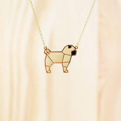HUG A PORCUPINE 'ORIGAMI PUG' NECKLACE - the-tangerine-fox