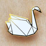 HUG A PORCUPINE 'ORIGAMI SWAN' BROOCH WHITE