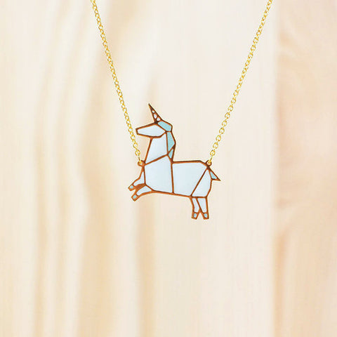 HUG A PORCUPINE 'ORIGAMI UNICORN' NECKLACE BLUE
