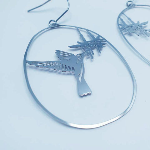 denz & co. earrings 'hummingbird dangles' silver