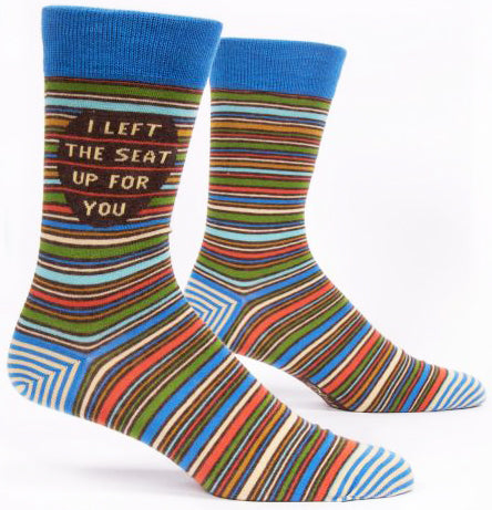 blue q men's socks 'i left the seat up for you'