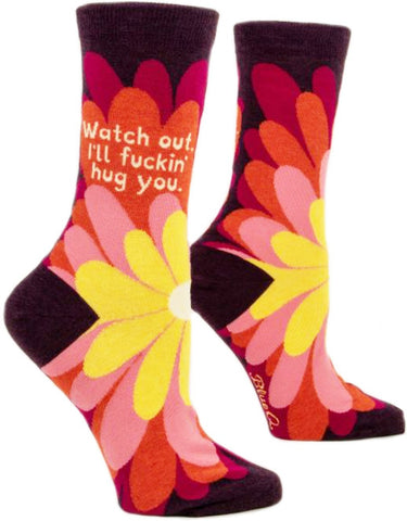 blue q women's socks 'i'll f*cking hug you'
