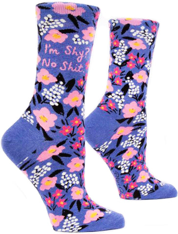 blue q women's socks 'i'm shy? no shit'