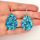 EACH TO OWN 'CLASSIC DROP' EARRINGS ICE BLUE GLITTER