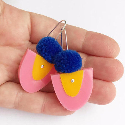 EACH TO OWN 'LITTLE YOO POM' DROP EARRINGS SUNNY