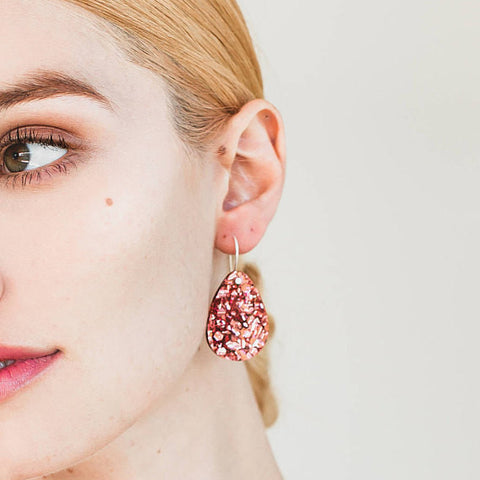 EACH TO OWN 'CLASSIC' DROP EARRINGS DUSTY PINK GLITTER