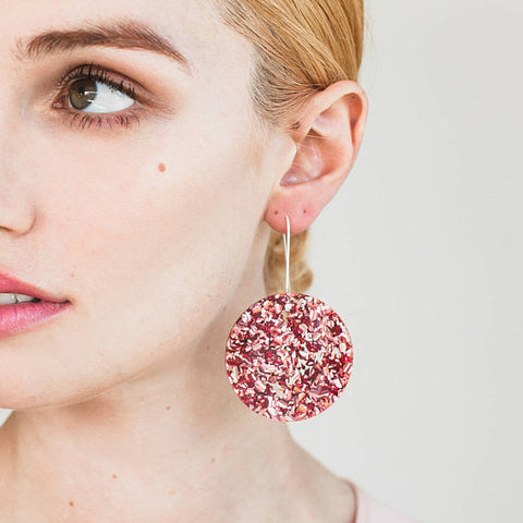 EACH TO OWN 'FULL MOON' DROP EARRINGS DUSTY PINK GLITTER
