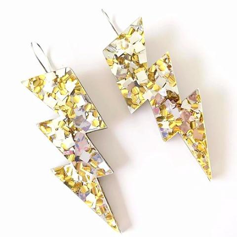 EACH TO OWN 'BOLT DROP' EARRINGS LUSH GOLD GLITTER
