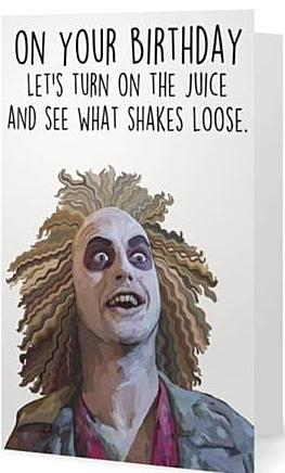 ex-girlfriends rebellion greeting card 'beetlejuice'
