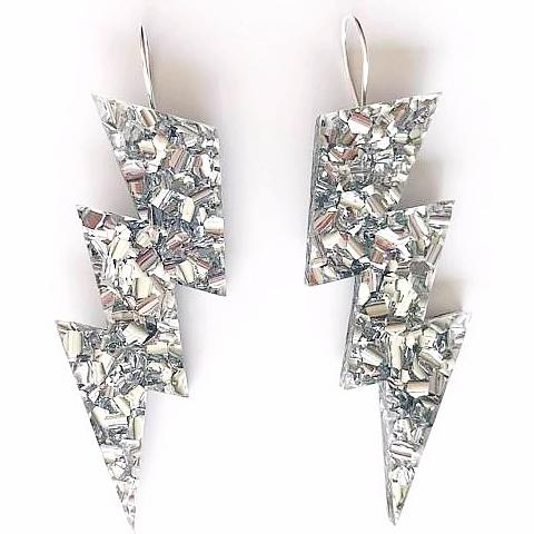 EACH TO OWN 'BOLT DROP' EARRINGS LUSH SILVER GLITTER