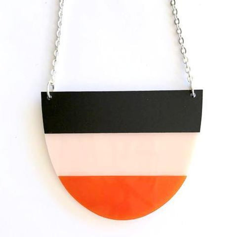 each to own necklace 'yoo split' black orange peach