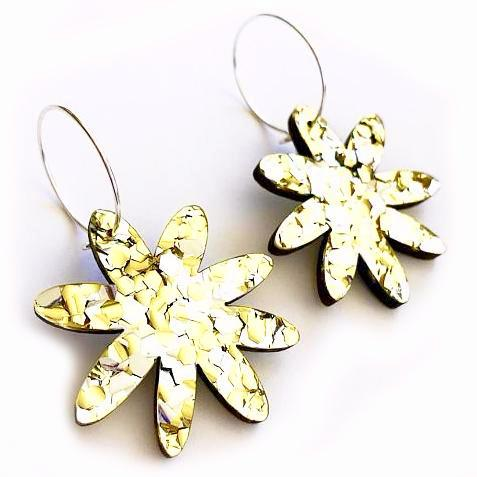 each to own earrings 'flora hoops' lush gold glitter