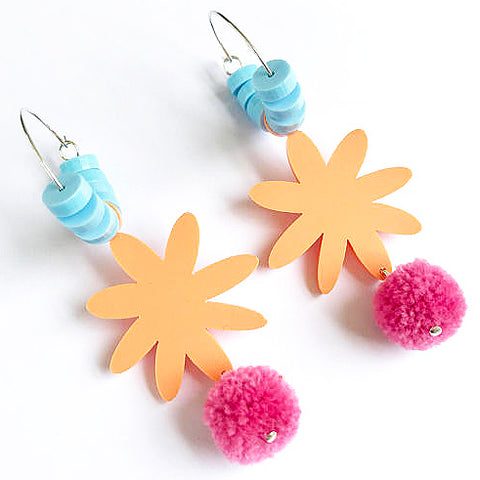 each to own earrings 'happy flora hoops' dusty pink / apricot blue