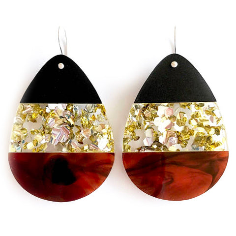 each to own earrings 'large classic split tri drop' tortoiseshell combo