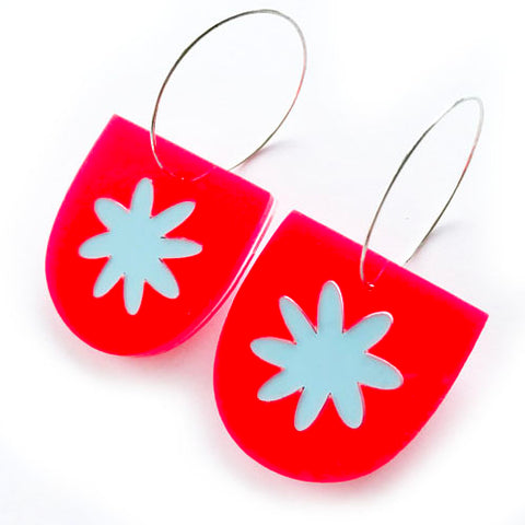 each to own earrings 'flora yoo hoops' neon coral