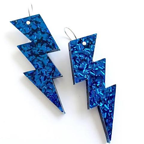 each to own earrings 'bolt drop' electric blue glitter