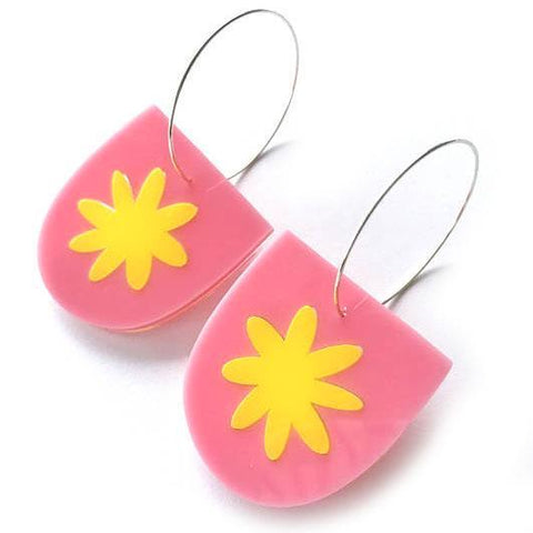 each to own earrings 'flora yoo hoops' pink