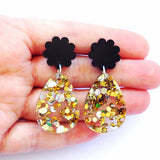 each to own earrings 'poppy drops' black - the-tangerine-fox