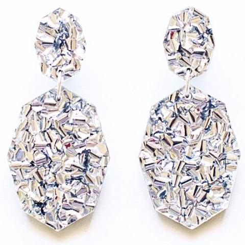 each to own earrings 'gemstar double drop' lush silver glitter