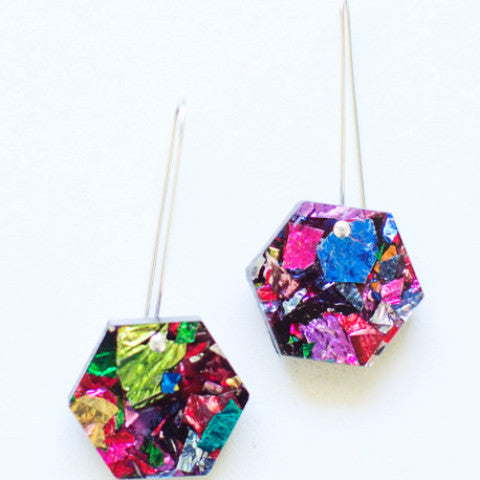 EACH TO OWN 'HEXIE GLITTER' DROP EARRINGS FIREWORKS