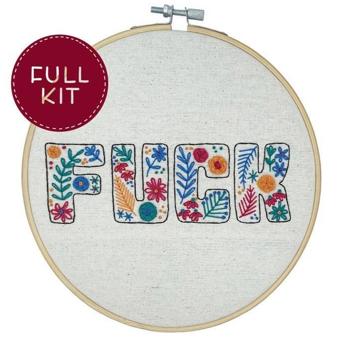 handmade by k embroidery kit 'f*ck floral' d.i.y.
