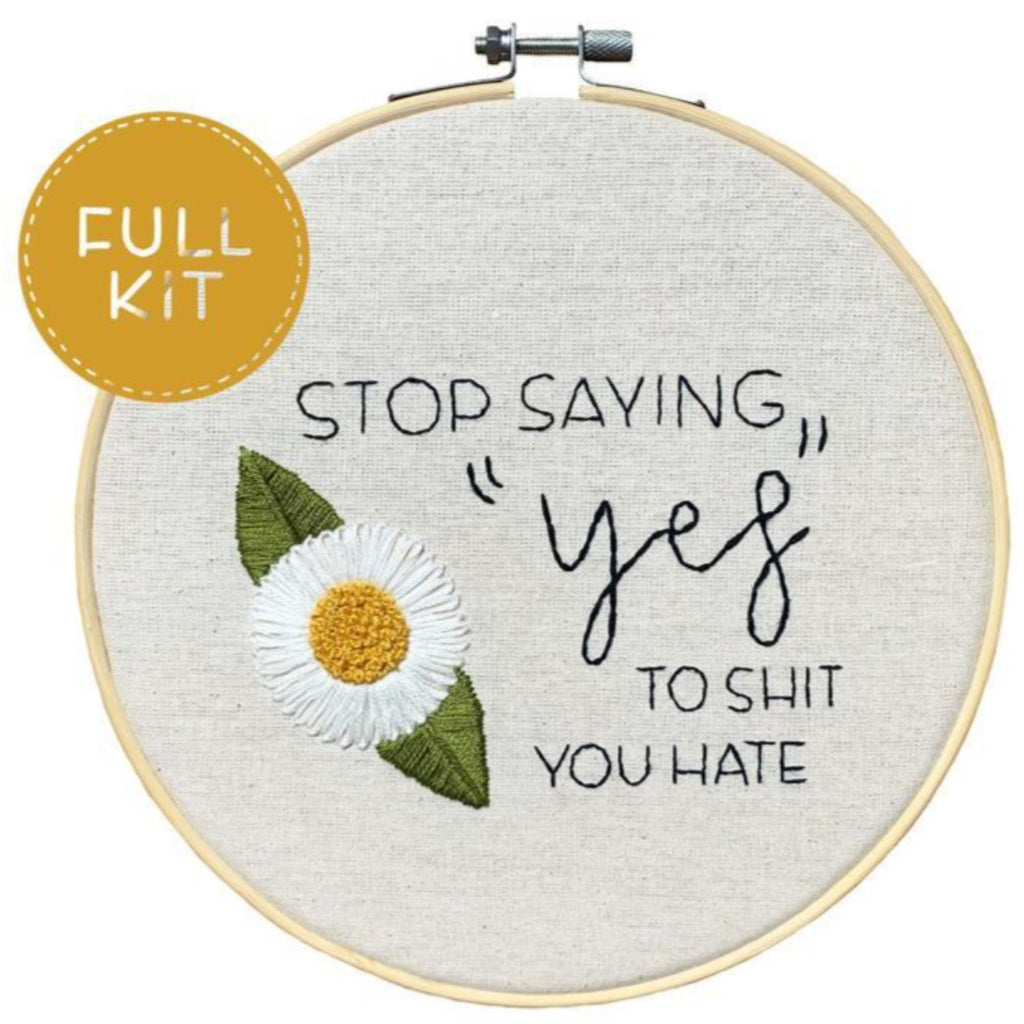 handmade by k embroidery kit 'no shame in self love' d.i.y.