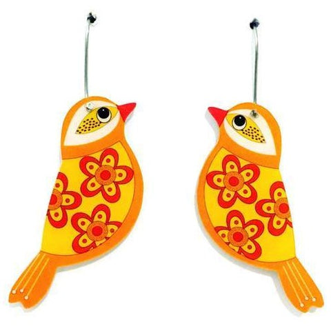 smyle designs earrings 'retro floral bird' yellow