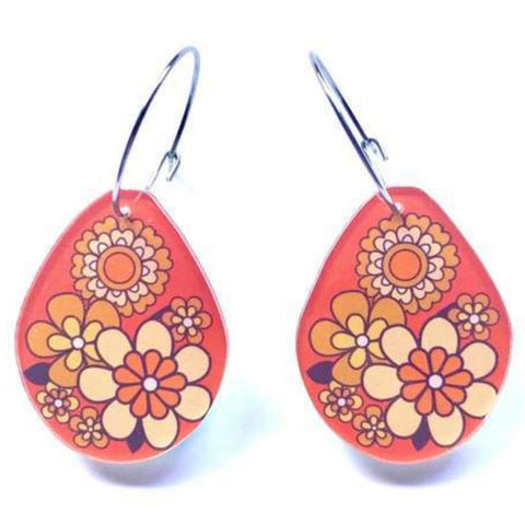smyle designs earrings 'short drop' orange retro floral