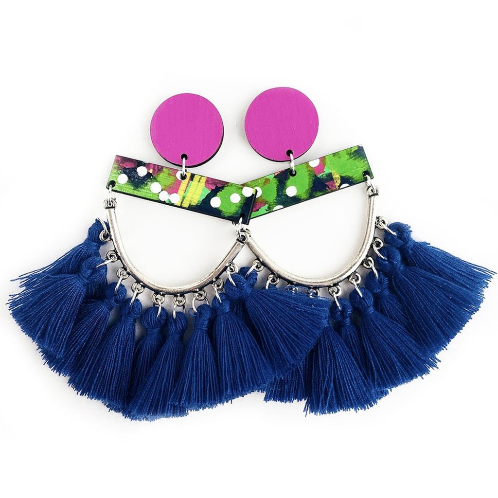 bee earrings 'classic bee bronx drops' blueberry tassels