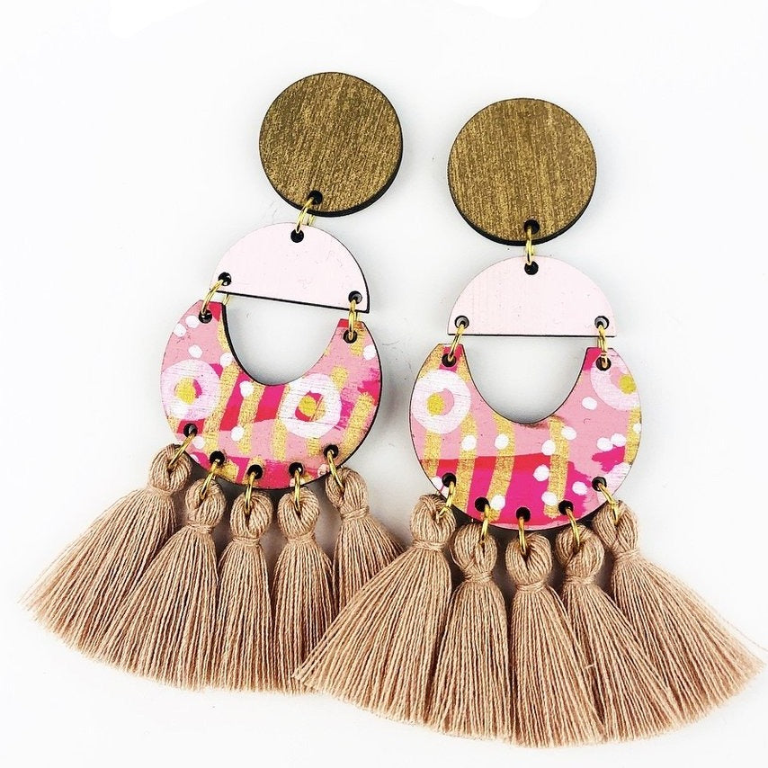 bee earrings 'classic bee abbott drops' driftwood tassels
