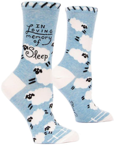 blue q women's socks 'in loving memory of sleep'