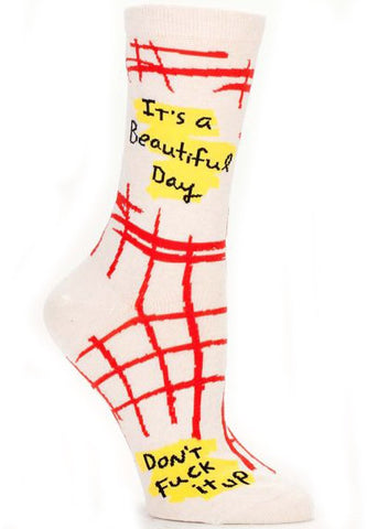 BLUE Q WOMEN'S SOCKS 'IT'S A BEAUTIFUL DAY DON'T F*CK IT UP'