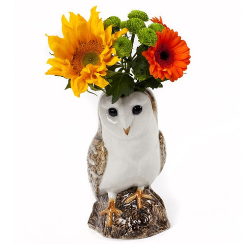 quail ceramics flower vase 'barn owl' large