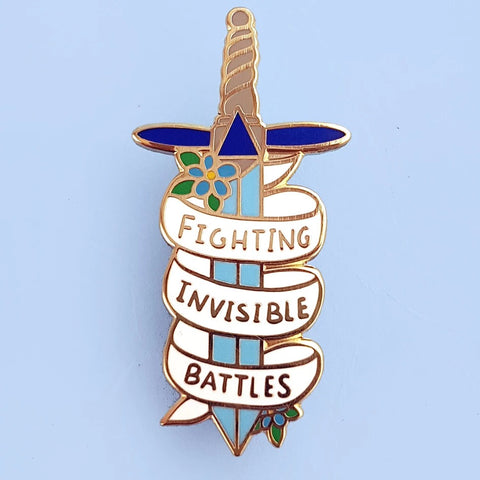 jubly-umph enamel pin 'fighting invisible battles' - the-tangerine-fox