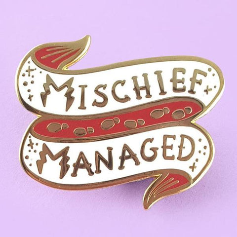 jubly-umph enamel pin 'mischief managed'