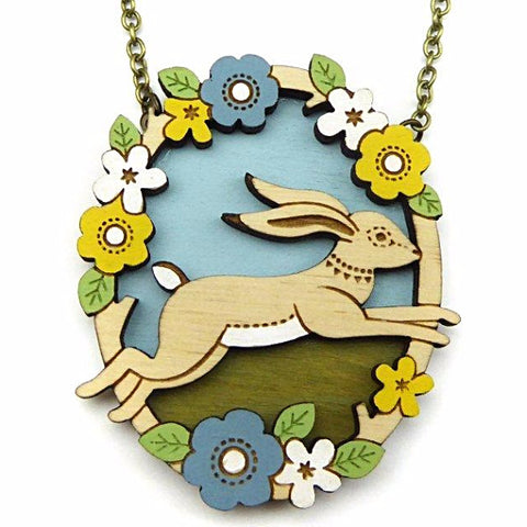 layla amber necklace 'jumping hare' - the-tangerine-fox