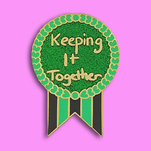 jubly-umph enamel pin keeping it together