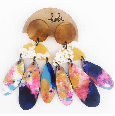kimba design earrings 'resin statement mustard floral & candy blue wash'