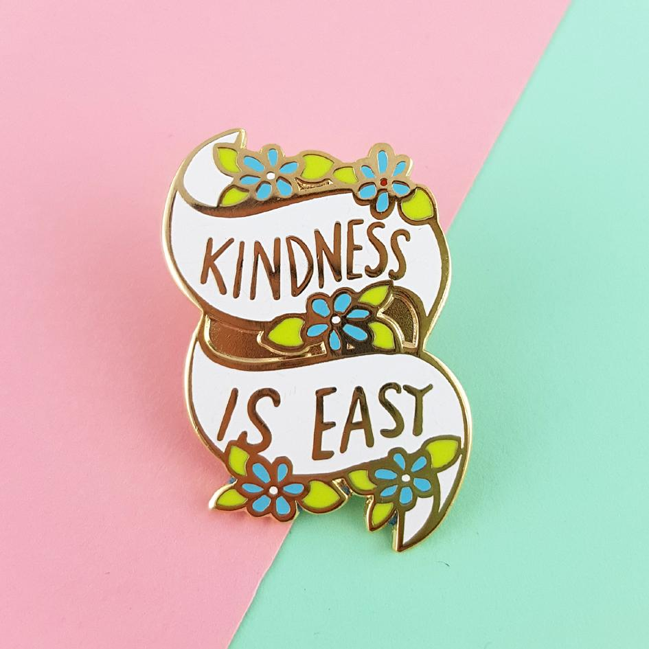 jubly-umph enamel pin 'kindness is easy' - the-tangerine-fox