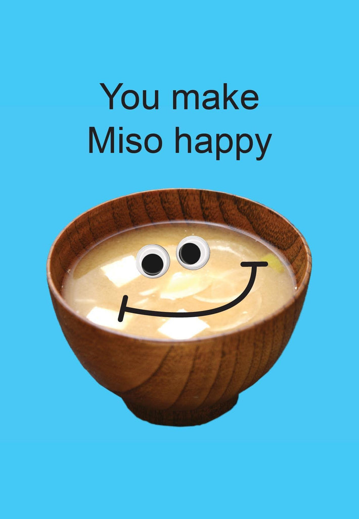 kiss me kwik greeting card 'you make miso happy' - the-tangerine-fox