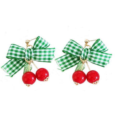 sugar earrings 'gingham bow & cherries' green