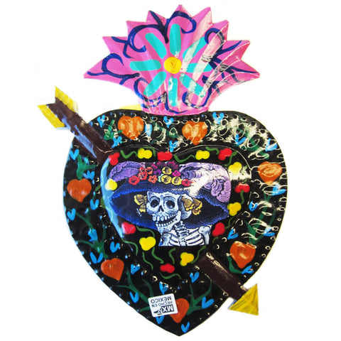 mexican tin wall art 'la catrina heart' - the-tangerine-fox