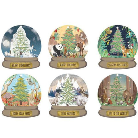 la la land gift card/tag set 'around the world christmas snow globes'