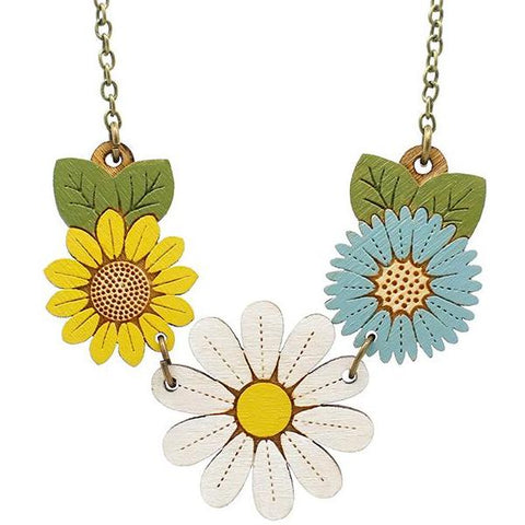 layla amber necklace 'daisy & wildflowers'