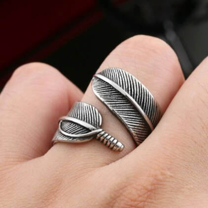 men's ring 'feather wrap around' silver